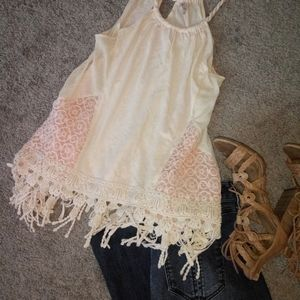 AdorBs!🐚Free People loose crochet bottom trim top